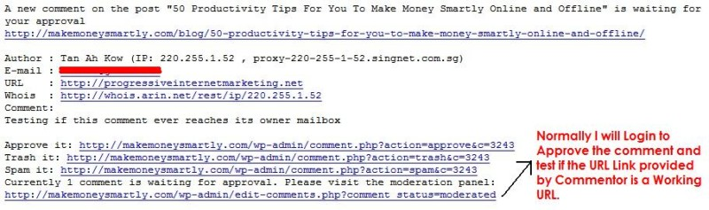 Email Message For Moderating Comments on WordPress Blog