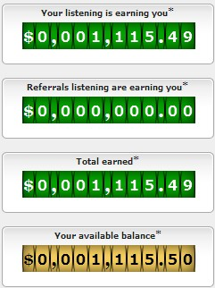 Get Rich Radio Earning Counter - 2 hours later